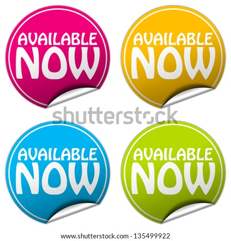 available now sticker set - stock photo