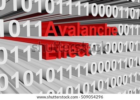 Avalanche effect in the form of binary code, 3D illustration