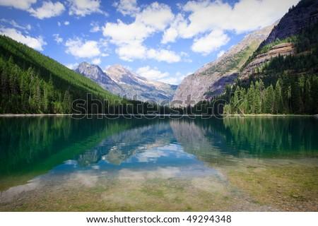 Avalanche Lake in Glacier National Park, Montana - stock photo