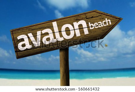 Avalon Beach, Australia wooden sign with a beach on background - stock photo