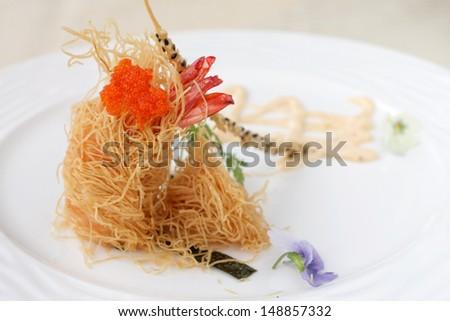 Avant garde fried prawn - stock photo