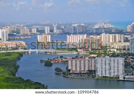 Aventura & Bal Harbor area from the air, Florida, USA - stock photo