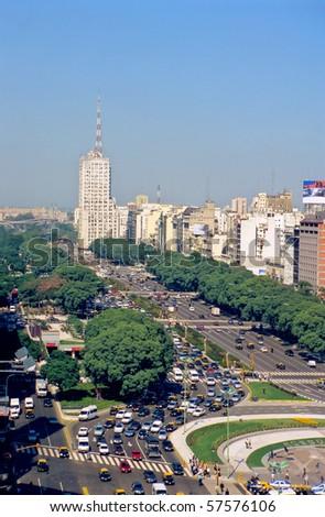 Avenue 9 de Julio in Buenos Aires - stock photo