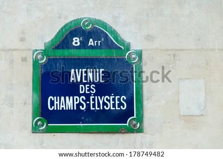 Avenue Des Champs-Elysees street sign in Paris, France. - stock photo