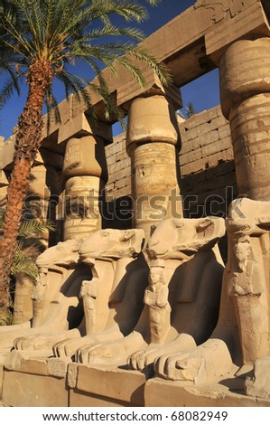 Avenue of ram headed sphinxes in the great court of the ancient Egyptian temple of Amun at Karnak, Luxor in Egypt - stock photo