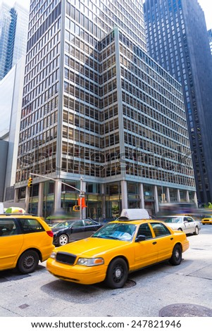 Avenue of the Americas 6th Av Manhattan yellow cabs New York city US - stock photo