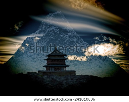 Avesome cloudscape over Buddhist Temple in mountains
