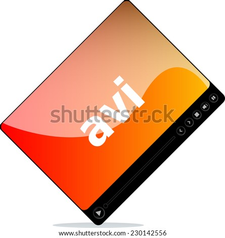 avi on media player interface isolated  - stock photo