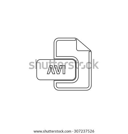 AVI video file extension. Outline black simple symbol - stock photo