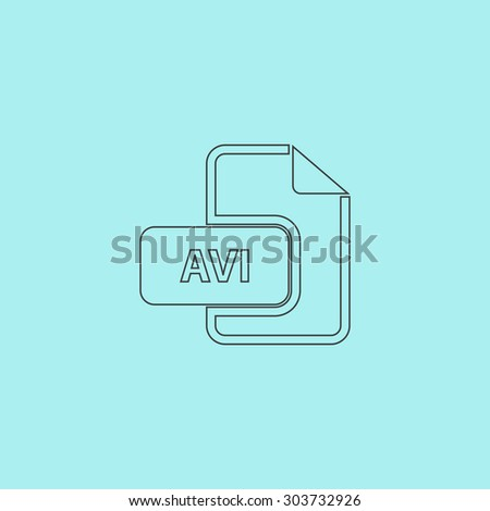 AVI video file extension. Outline simple flat icon isolated on blue background - stock photo