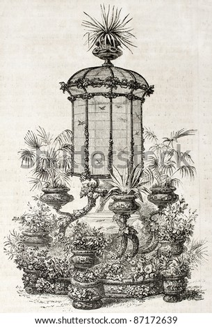 Aviary old illustration. By unidentified author, published on L'Illustration, Journal Universel, Paris, 1860