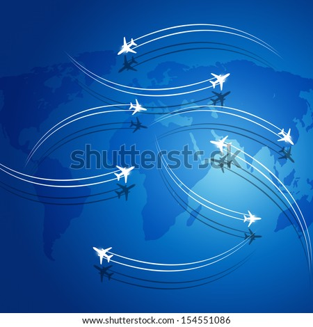 aviation background airplanes flying over the map leaving theirs shadows - stock photo