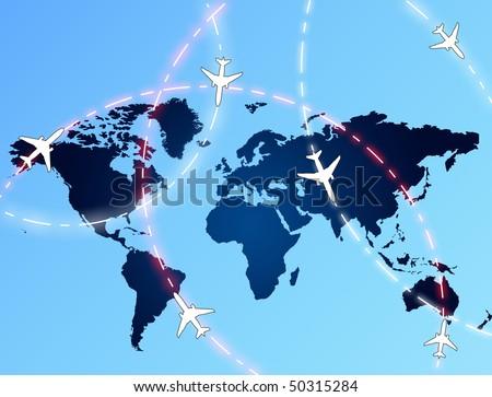 Aviation routes - stock photo