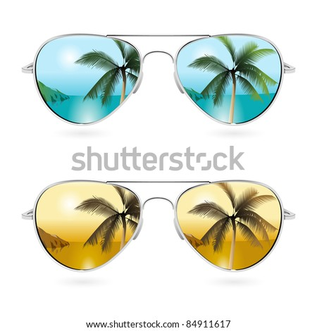 Aviator sunglasses with tropical reflection - stock photo