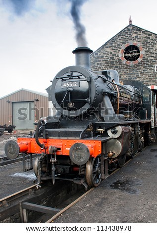 AVIEMORE, SCOTLAND - OCT 27: LMS Ivatt 46512 Class 2 2-6-0 locomotive, one of only seven remaining on October 27, 2012 in Aviemore, Scotland