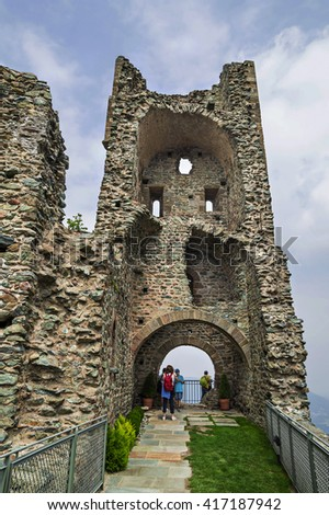 AVIGLIANA,TURIN,ITALY - JUNE 30,2015. Torre di Bell Alda - Tower of the Beautiful Alda at Sacra di San Michele (Saint Michael's Abbey),religious complex in Piedmont, northern Italy. - stock photo