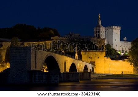 Avignon at night, Provence, France - stock photo