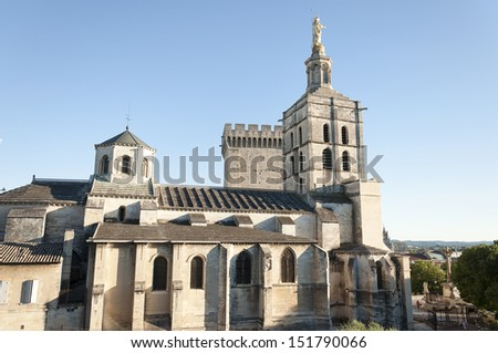 Avignon Cathedral (Notre Dame des Doms cathedral), is a Roman Catholic cathedral, is located in the heart of Avignon, near the Palais des Papes - stock photo