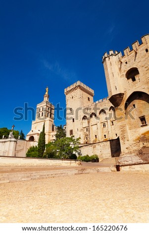 Avignon central square in old town, France province Provence  - stock photo
