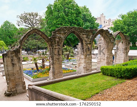AVIGNON, FRANCE - MAY 5, 2012: The ruins of old church in the garden near the  Temple of Saint Martial, located on the Agricole Perdileur street, on May 5 in Avignon.