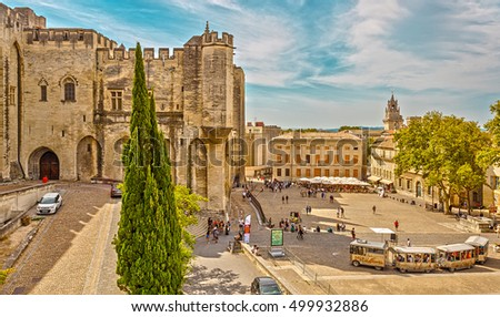 Avignon, France - September 4, 2016: The area in front of the Palais des Papes.