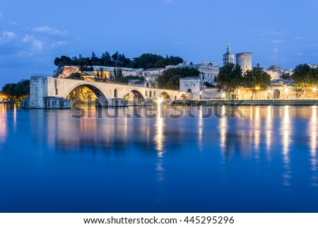 Avignon Saint Benezet  Bridge, viewed at night. With the Papal Palace. / France