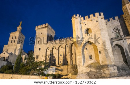 Avignon (Vaucluse, Provence-Alpes-Cote d'Azur, France), Palais des Papes (Palace of the Popes) by night - stock photo