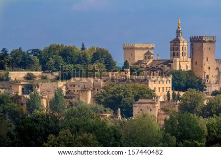 Avignon view to the popes palace  - stock photo