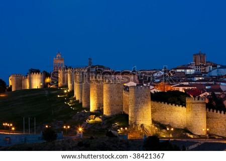 Avila at night, Castile and Leon, Spain - stock photo