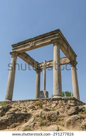 Avila de los Caballeros. The four post. Los cuatro postes. Christian monument in the city of Ávila, Castile and Leon, Spain - stock photo