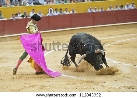 AVILA, SPAIN - JUNE 2: Cesar Jimenez fights in the welfare bullfight of Avila, a city near to Madrid in the middle of Spain in June 2, 2012. - stock photo