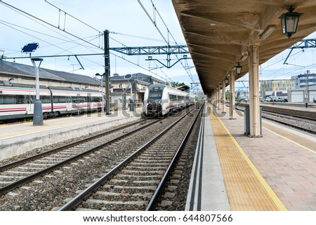 AVILA, SPAIN - MAY 17, 2017: A train stops at the local railway station