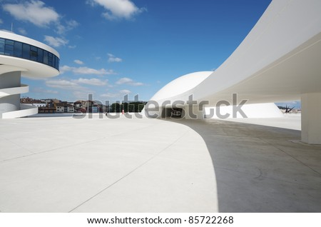 AVILES, SPAIN - AUGUST 10: Exterior view of the Niemeyer Center on August 10, 2011 in Aviles, Spain. It is designed by Oscar Niemeyer and the Center offers a  multidisciplinary program dedicated to diverse art and cultural events. - stock photo