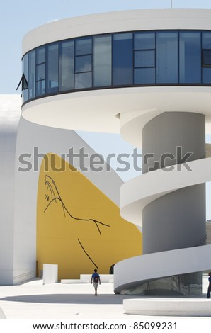 AVILES, SPAIN - AUGUST 10: Niemeyer Center on August 10, 2011 in Aviles, Spain. Designed by Oscar Niemeyer, Niemeyer Center offers a multidisciplinary program dedicated to the art and cultural events. - stock photo