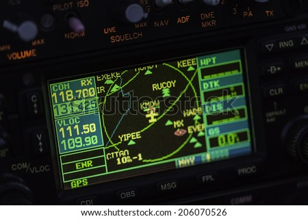Avionics instrumentation panel on helicopter board - stock photo