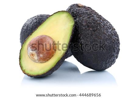 Avocado avocados fruit fresh fruits isolated on a white background - stock photo
