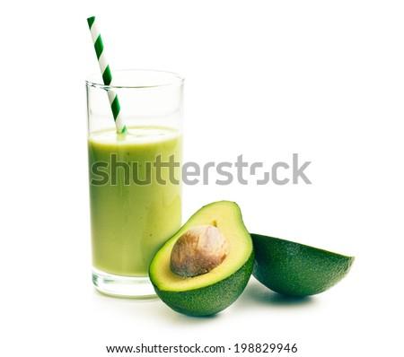 avocado cocktail on white background - stock photo