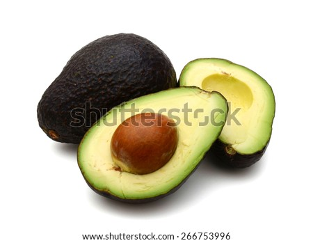 avocado fruits on white background