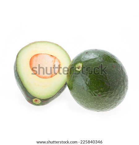 avocado green fruit isolated white background
