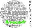 Avocado info-text graphics and arrangement concept on white background (word cloud) - stock photo