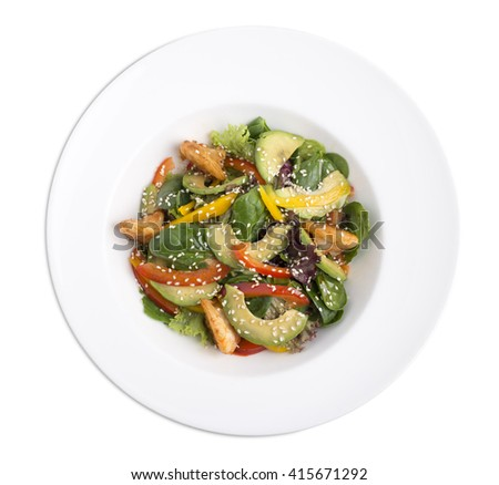 Avocado salad with prawns. Isolated on a white background. - stock photo
