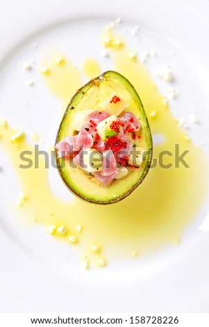 avocado tuna salad - stock photo