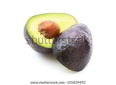 Avocados isolated on white background. - stock photo