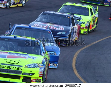 AVONDALE, AZ - APRIL 18: Kurt Busch (2) stays in line during the warm up lap of the NASCAR Sprint Cup Series race at Phoenix International Raceway April 18, 2009 in Avondale, AZ.