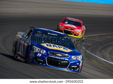 AVONDALE, AZ - MAR 13: Chase Elliott at the NASCAR Sprint Cup Good Sam 500 race at Phoenix International Raceway in Avondale, AZ on March 13, 2016