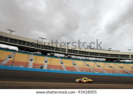AVONDALE, AZ - OCT 4: David Ragan (6) takes laps during a NASCAR Sprint Cup track testing session on Oct. 4, 2011 at Phoenix International Raceway in Avondale, AZ. - stock photo