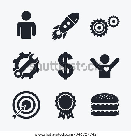 Award achievement, spanner and cog, startup rocket and burger. Business icons. Human silhouette and aim targer with arrow signs. Dollar currency and gear symbols. Flat icons. - stock photo