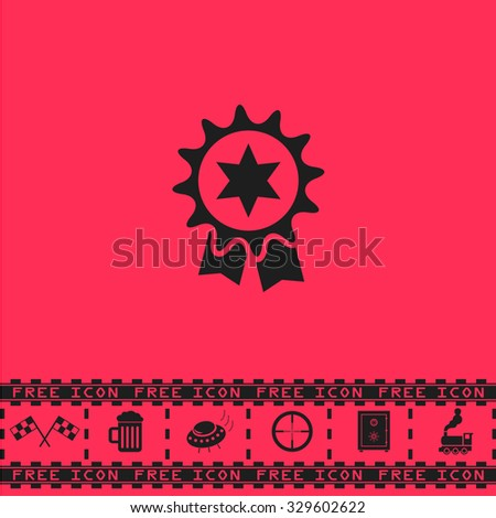 Award. Black flat illustration pictogram and bonus icon - Racing flag, Beer mug, Ufo fly, Sniper sight, Safe, Train on pink background - stock photo