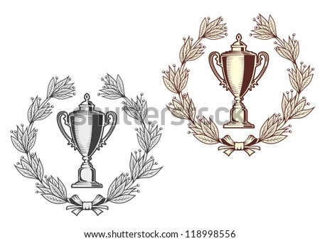 Award bowl with laurel wreath for sports or another achievement design concept. Vector version also available in gallery - stock photo