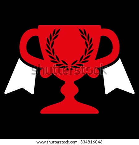 Award Cup illustration icon. Style is bicolor flat symbol, red and white colors, rounded angles, black background. - stock photo